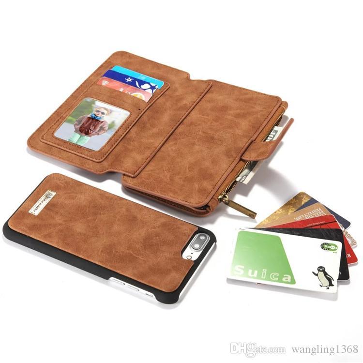 7ce6c34eebd Accesorios Para Smartphone 7 Más Lujo Multifuncional Magnética Desmontable  Cremallera Monedero Para Apple Iphone 7 Plus 5.5 Moda Vintage Marcas Flip  Bag ...