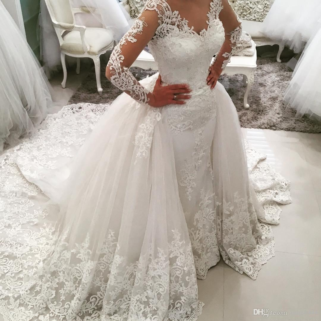 Mermaid wedding dresses african lace 2017 long sleeve detachable mermaid wedding dresses african lace 2017 long sleeve detachable ov plus size boat neck backless vintage bridal gowns lace vestido de noiva maternity ombrellifo Images