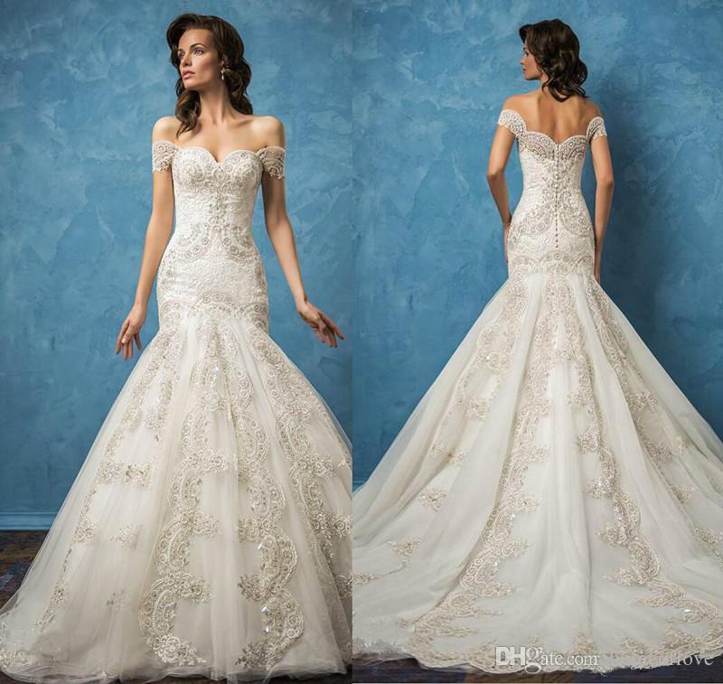 Charming Off Shoulder Wedding Dresses Full Lace Mermaid Applique ...
