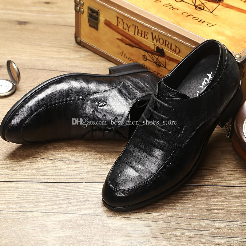 33d6393619f2 British Style Formal Dress Shoes For Men Genuine Leather Height Increasing  8CM Mens Wedding Party Shoes Clogs For Women Cheap Shoes Online From ...