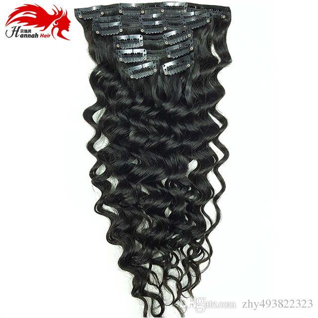 Clip di capelli di estensione dei capelli di estensione dei capelli umani dell'onda di ricciolo profonda di estensione di estensione dei capelli di estensione di Hannah in estensione