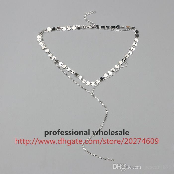 Wholesale 2017 New Arrival High Quality Multilayer Alloy Sequins Chain Necklace Clavicle Chain Fashion Jewelry Gift