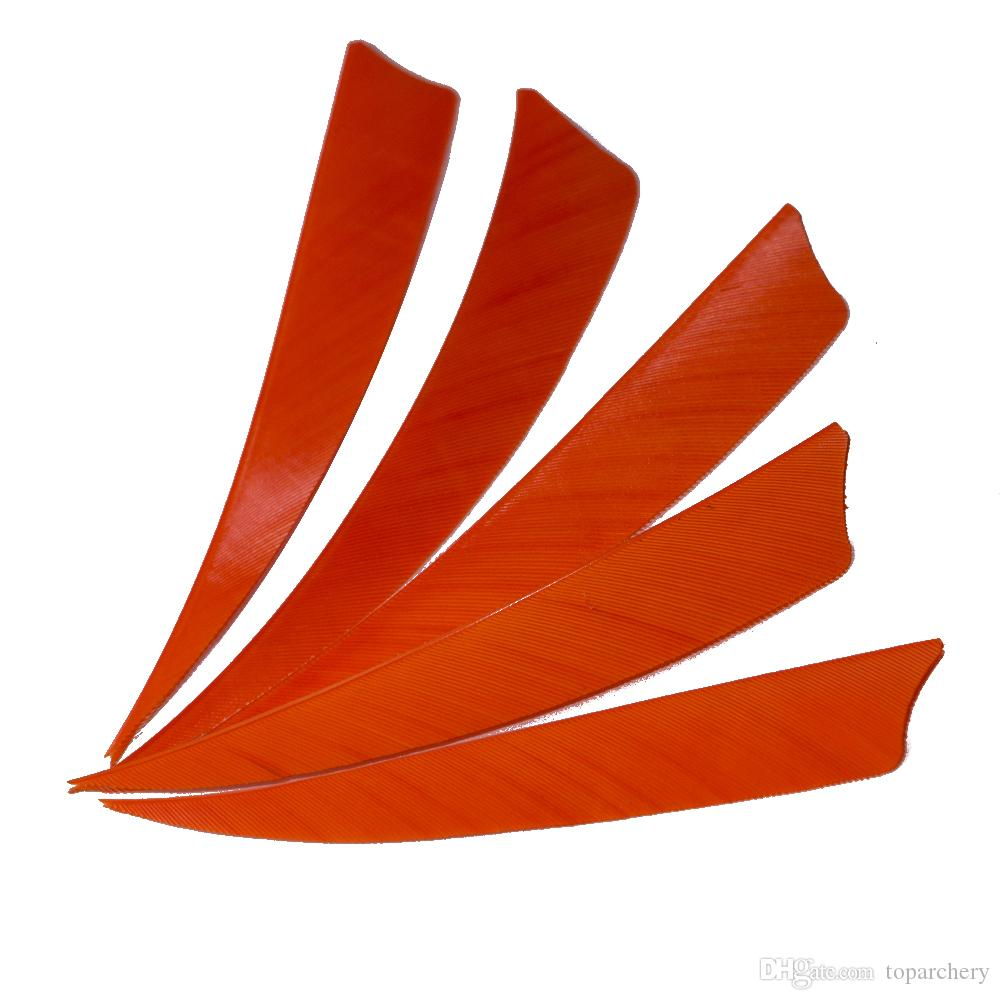 4'' Right Wing Feathers for Glass Fiber Bamboo Wood Archery Arrows Hunting and Shooting Shield Orange Fletching