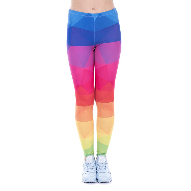 e152fba3607c8 2019 Women Leggings Triangles Rainbow 3D Print Girl Skinny Stretchy  Colorful Pattern Pants Runner Casual Jeggings Yoga Soft Trousers New J43477  From ...