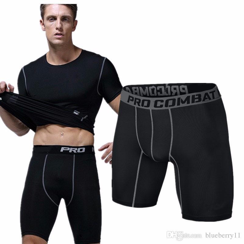 Оптовая торговля-спорт тренажерный зал шорты черный короткие мужчины запуск сжатия шорты тренировочные брюки Бодибилдинг Combat Dry Training леггинсы мужчины короткие брюки