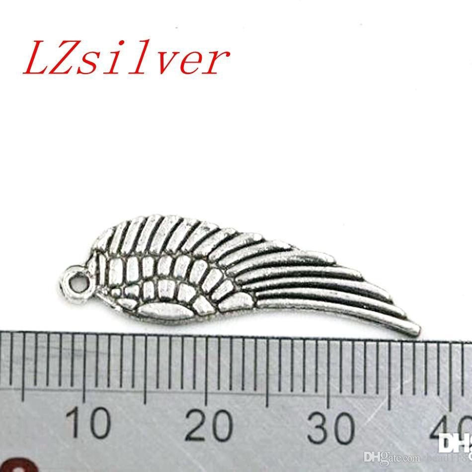 Caliente ! 200 unids plata antigua de aleación de zinc Angel Wing Charms colgantes 9.5x30mm DIY joyería Fit collar de pulseras