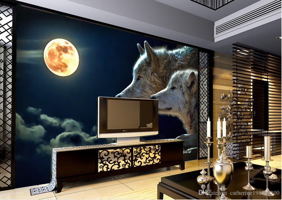 Custom any size popular night view of the wolf tv wall for Custom size wall mural