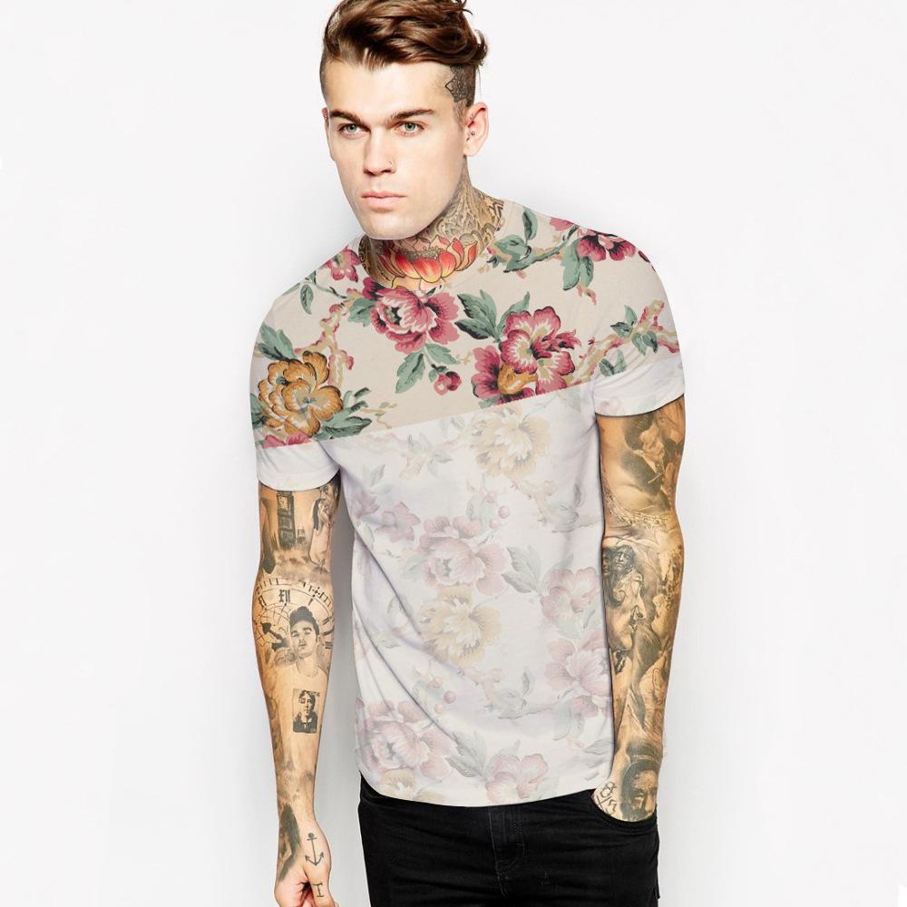2017 Summer Europe Fashion Men'S Flowers Digital Printing T Shirt ...