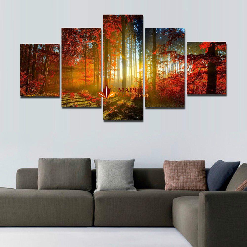 acheter 5 panneaux for t peinture toile murale art photo d coration de la maison pour salon