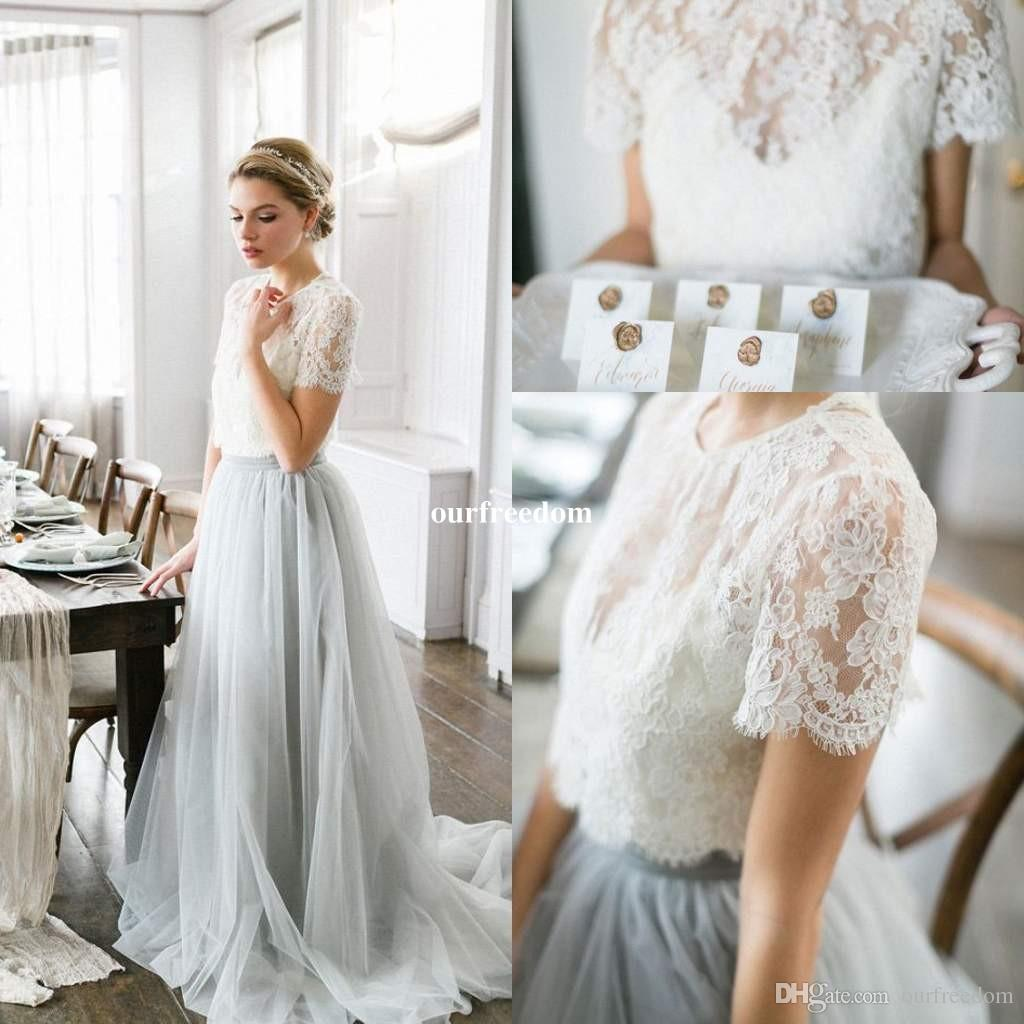 0a8d330c86 Grey Sweet Two Piece Bridesmaid Dresses 2017 Sheer Jewel Neck Half Sleeve  Lace Top Maid Of Honor Country Garden Wedding Wear Custom Made