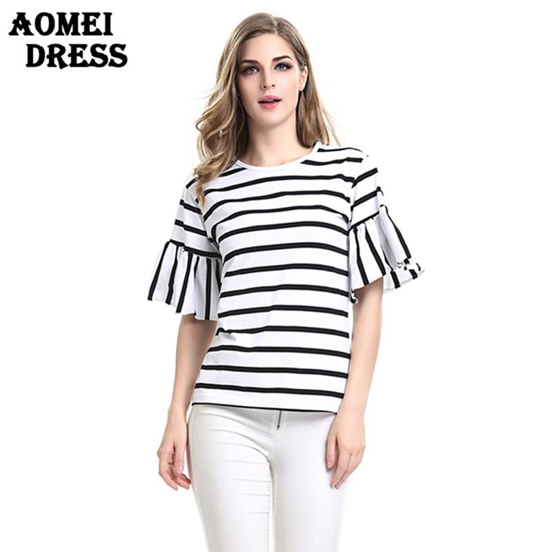 f9dc5e76e6d5c 2018 Women Bell Sleeve Casual T Shirt Striped Black with White O Neck Summer  Tops Tshirts Tunics Navy Blue Stripe Tees Tops Butterfly Sleeve Striped  Black ...