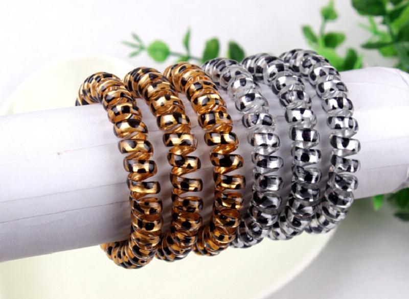 Bandes de poils à cheveux Bandes de cheveux corde Elastic Téléphone Fil Spring Design pour Femme Girl Coiffeur Accessoires Headwear Porte-vêtements Couleur léopard