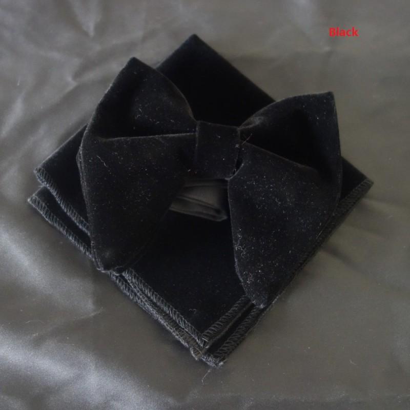 Moda cravatta in velluto di anguria con fazzoletto abbinato Mens cravatta in velluto con fiocco unica di papavero smoking Hankie Set cravatta in cravatta