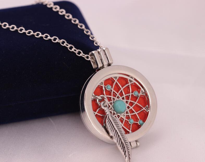 Pena Medalhões Aromaterapia Óleo Essencial Difusor Meninas Colar Medalhão Perfume Difusor Medalhões Pingente de Casamento Das Mulheres Colar de Jóias