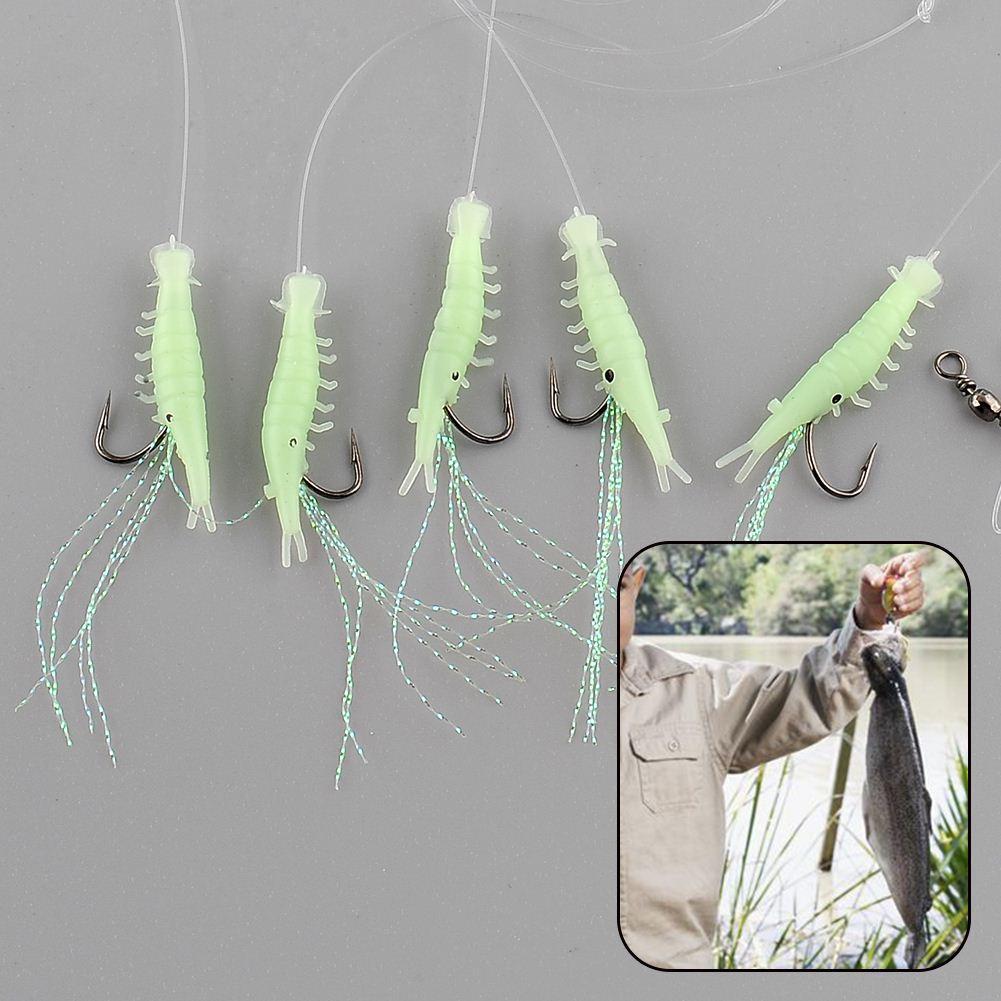 q0205 /Pack Sabiki Shrimp Rigs Glitter Glow in the dark Fish Fishing Bait Baits Lure Catch Size16 Hook Drop Shipping