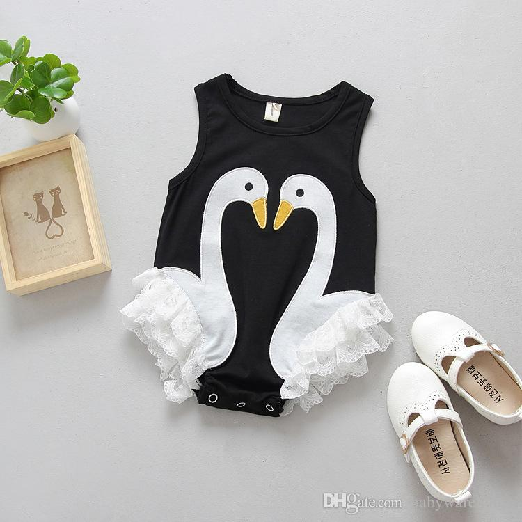 Newborn Clothes Baby Romper Cute Swan Pattern Baby's One Piece Suits Baby Girls Lace Jumpsuits Summer Baby Clothes Climb Bodysuit Babysuits