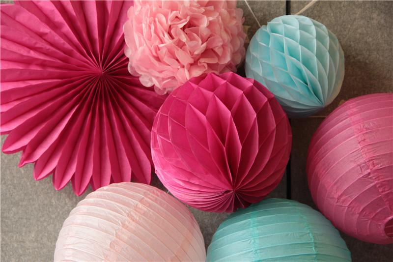 rosa, fúcsia, azul decoração do partido conjunto de papel pendurado fã, lanternas de papel, bola de favo de mel, papel de tecido pom pom decoração do casamento