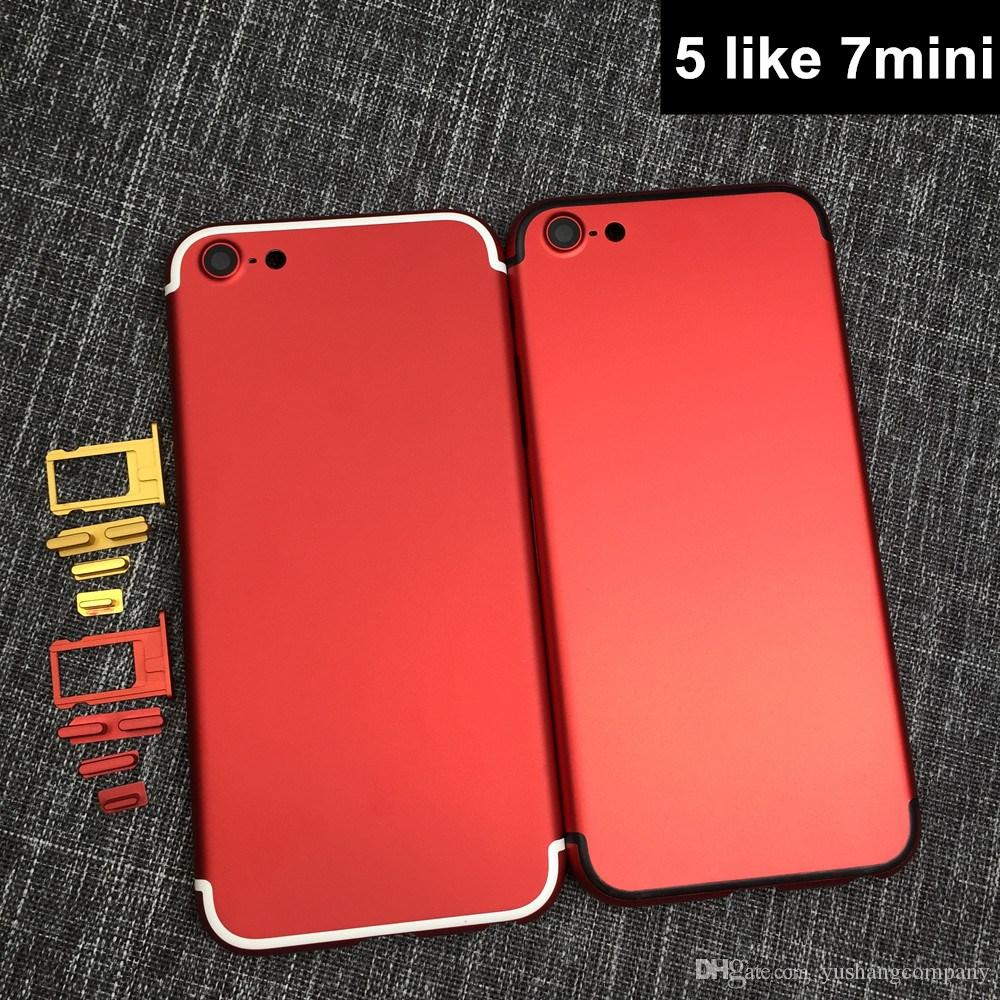 For Iphone 5 7 Mini Back Housing Replacement Parts Like Style Battery Door Cover Matte Black Red 5G
