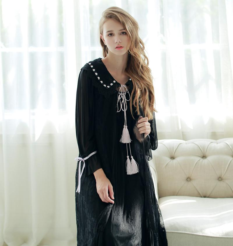 Wholesale- New Autumn Women s White And Black Long Robe Sleepwear ... 645753111