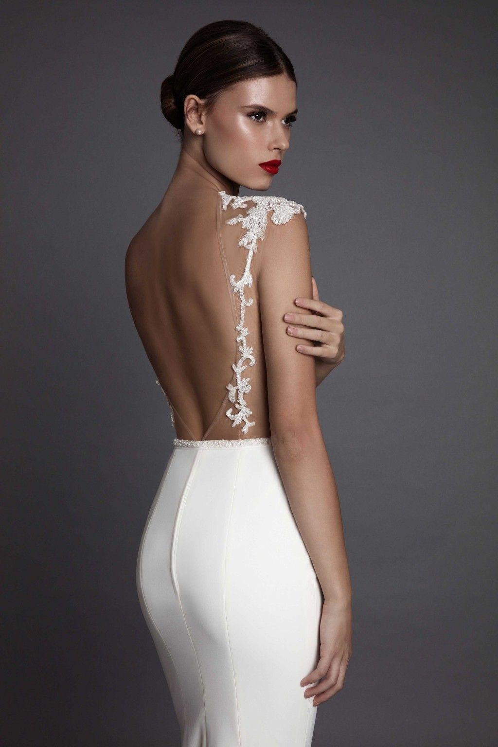 Berta Illusion Mermaid Wedding Dresses Sexy Backless Beads Appliques Wedding Gowns Floor Length Delicate Sash Wedding Dress