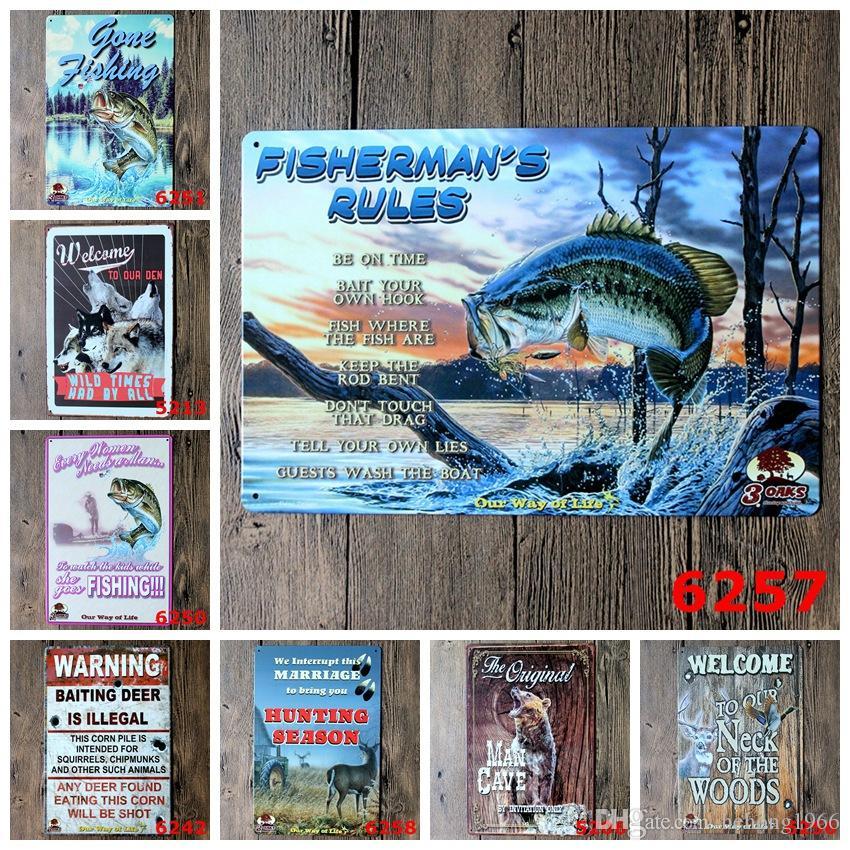 Chasse Pêche Vintage 20 * 30 cm Tin Affiche Animal Grand Poisson Fer Peinture Homme Gave Par Invitation Seulement En Métal Signe Signe Populaire 3 99rjL