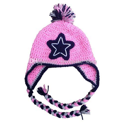 Fußball-Hut, handgemachte stricken häkeln Baby Boy Girl Twins grau und rosa Earflap Cap, Wintermütze, Kleinkind Kleinkind Fotografie Prop, Dusche Geschenke