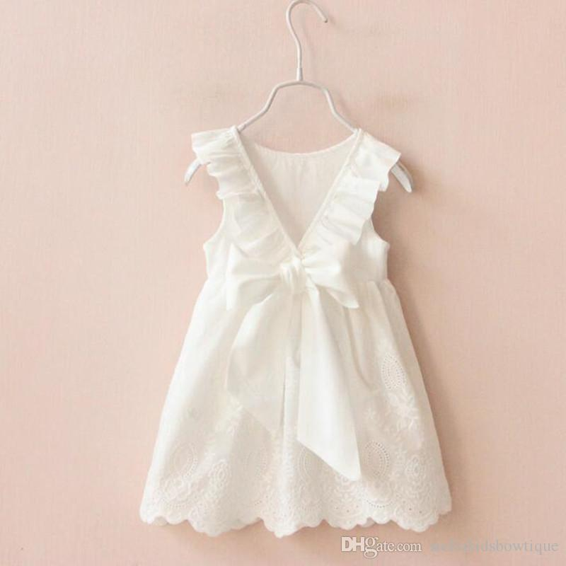 2474bd0c7e6 Summer White Lace Baby Girl Dress Cute Infant Backless Princess Tutu Dress  Clothes Toddler Cutout V Ribbon Bow Dress For Girls Ruffle Hollow Girls  Dress V ...