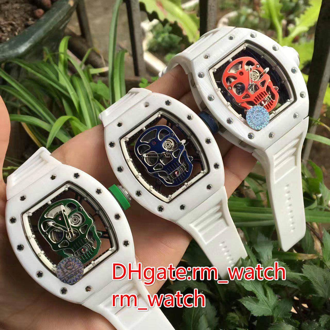 6faebc2ee5e White Ceramic Casered.green.blueskull Pirate Face Wristwatch Luxury ...
