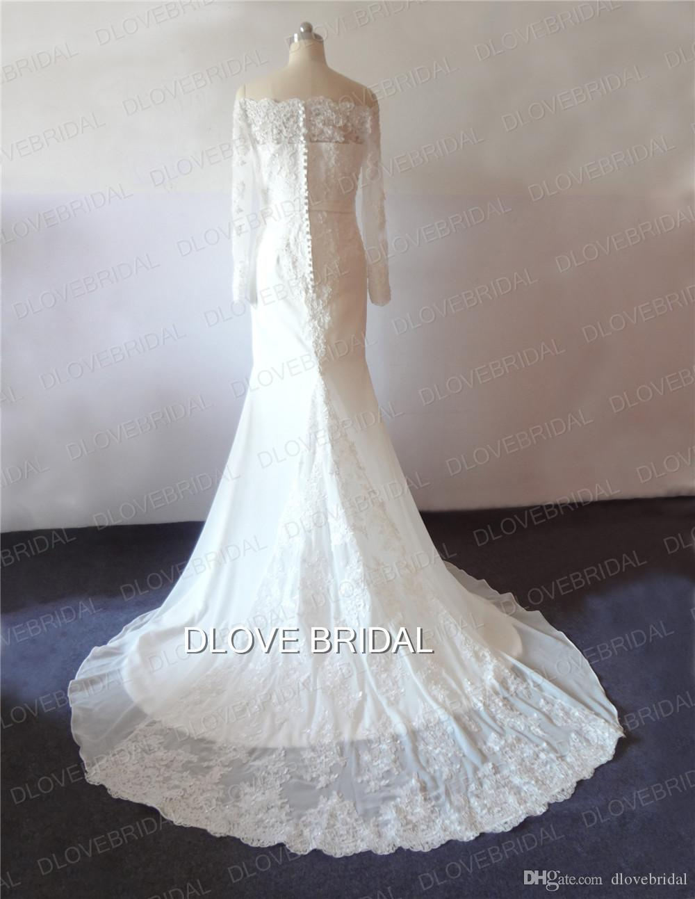 Real Photo Illusion Long Sleeve Off the Shoulder Mermaid Wedding Dress with Lace Appliques Delicate Pearls Vestido de Noiva Robe De Mariage