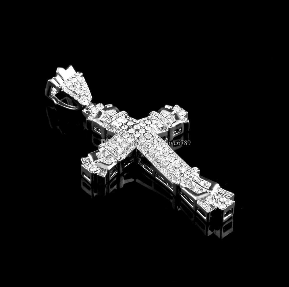 Gümüş Hip Hop Çapraz Charm Kolye Tam Buz Out CZ Simüle Elmas Katolik Haç Hıristiyan Kolye Kolye Uzun Küba Zinciri ile
