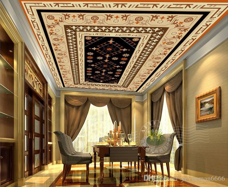 изготовленные на заказ обои картины 3D цветка потолка 3D национальные для потолков обои для потолка живущей комнаты 3d