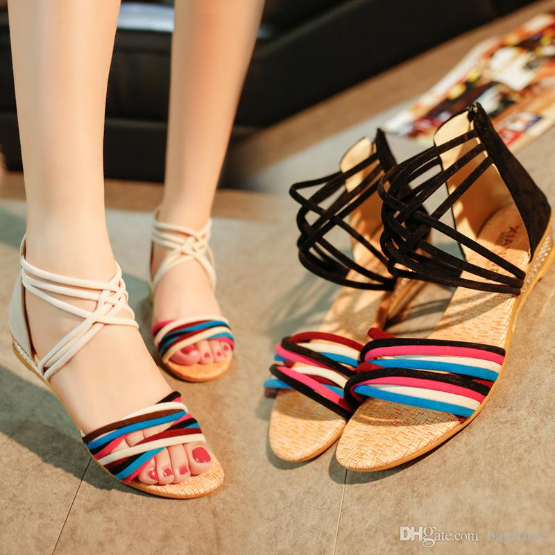 dc4541002a39 Cheap Fashion White And Black Flat Heel Sandals Fashion Bohemia Beach Shoes Women  Slippers Sandals Girls Fashion Slippers With High Quality Knee High ...