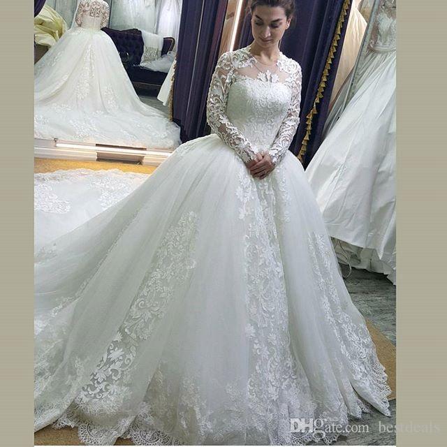 Nuevo vestido de bola de la llegada 2017 vestidos de boda de Tulle Jewel Lace sheer mangas largas tren de la corte vestidos de novia de la boda