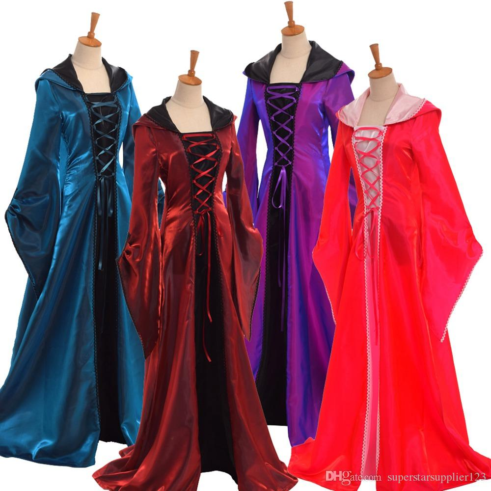 Cosplay Fancy Hooded Long Dress Vintage Medieval Women Lace Up Party ...