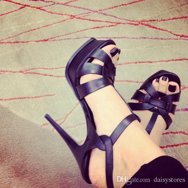 Cuero genuino mujeres tiras tacones altos vestido de fiesta de la boda bombas hebilla de la correa sandalias de verano zapatos plataforma 14 CM tacones altos