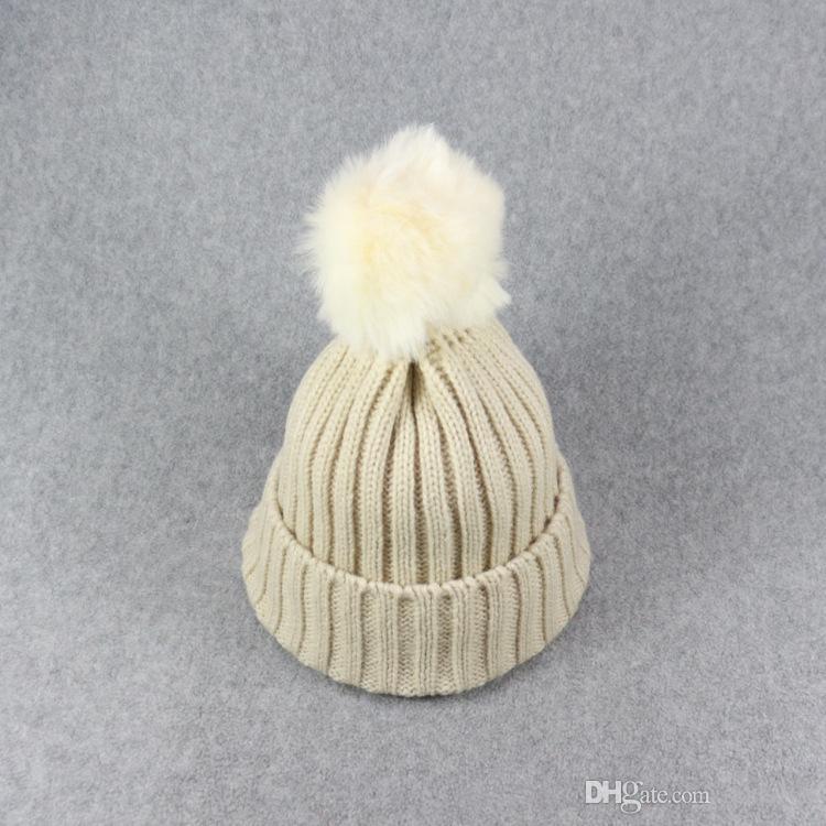2017 Nova Criança Do Bebê De Malha Beanie Chapéus Meninas Meninos Inverno Quente Pele De Pom Hat Crochet Tampas De Esqui Bola de Natal Presentes Do Dia Das Bruxas HH7-130