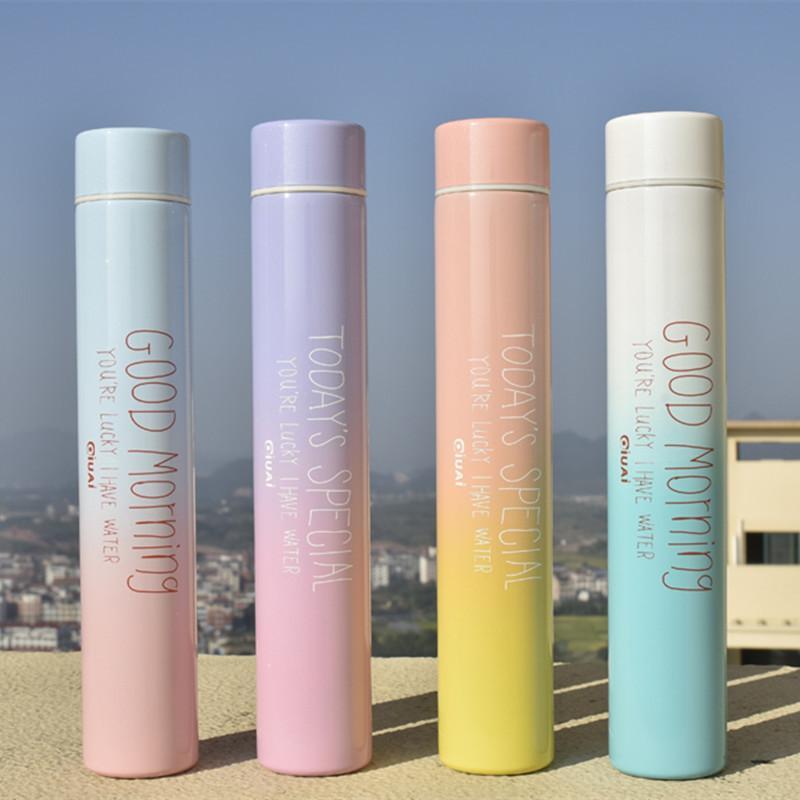 260ml Modern Design Vacuum Water Bottle Long Preversation Thermal Flask Letters Mug Bottle Gift Water Cup