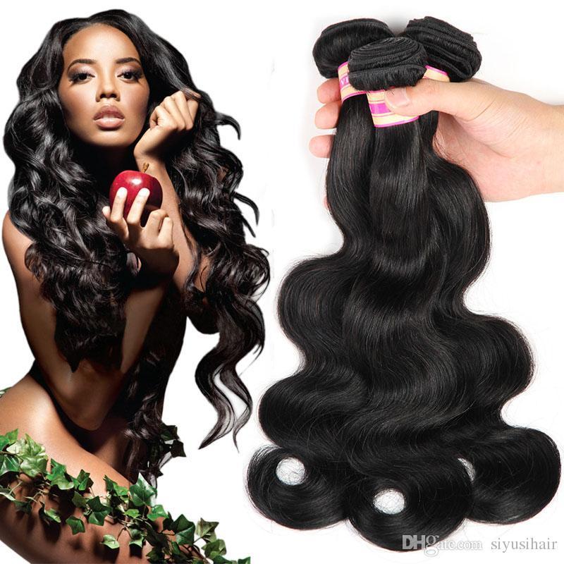 Malasia India Brasileño Plaza de pelo de Virgen Peruano Body Wave Hair Teje color natural # 1 # 2 # 4 # 27 # 99j # 33 # 30 Extensiones de cabello humano