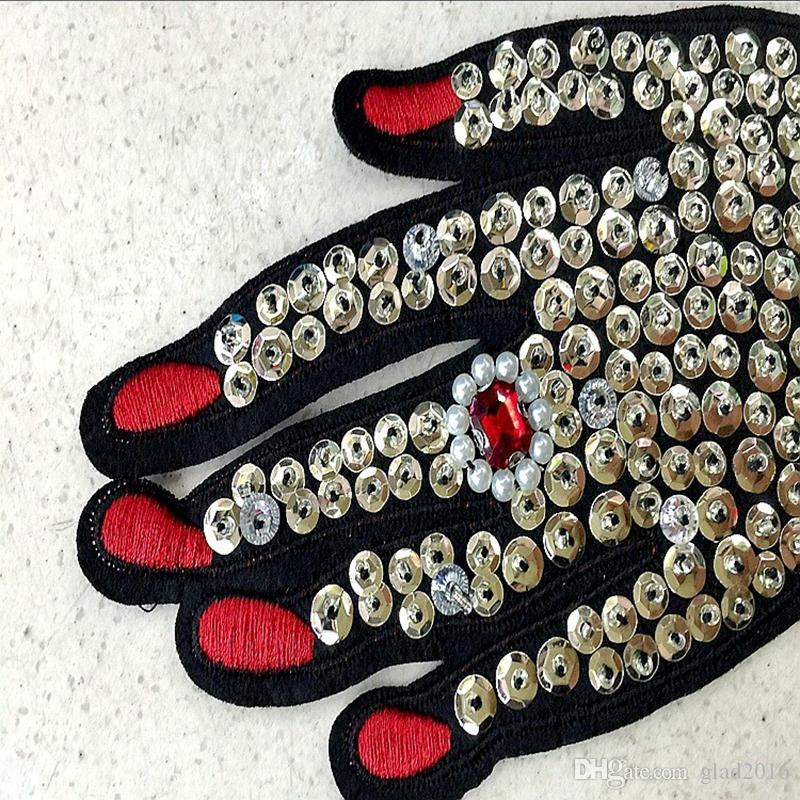 Hand rhinestones beaded patches vintage embroidered fabric applique fashion clothing decoration sew on patch accessories supplie