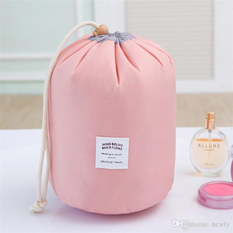 Fashion Barrel Shaped Travel Cosmetic Bag Make up Bag Drawstring Elegant Drum Wash Kit Bags Makeup Organizer Storage Bag