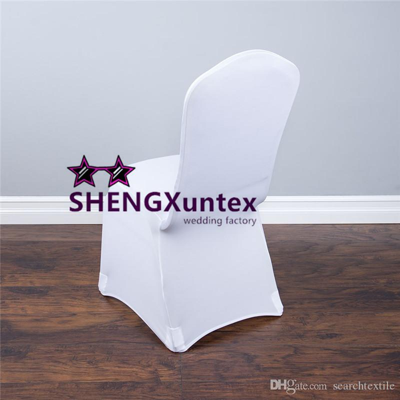 Witte kleur goedkope strech lycra spandex stoel dekking met sterke zak voor bruiloft