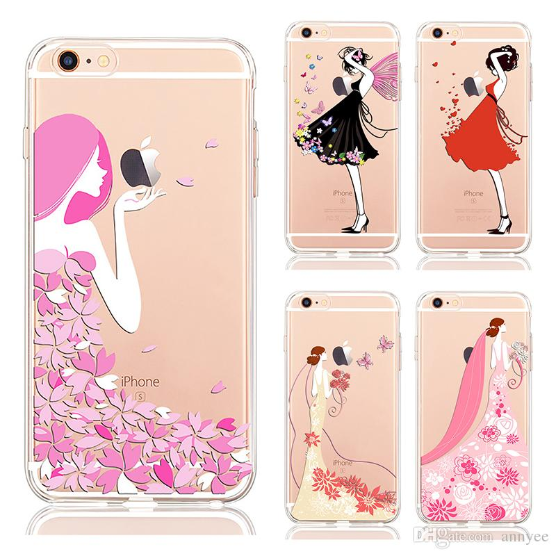 Case For Apple Iphone 6s 7 8 Plus Transparent Tpu Mobile Shell Angel