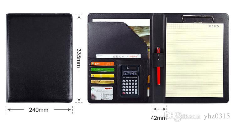 Notebook de negócios multifuncional com casos Money / Bill PU Padfolio couro com A4 Clipboard Memo Pad Escritório Organizador fólios
