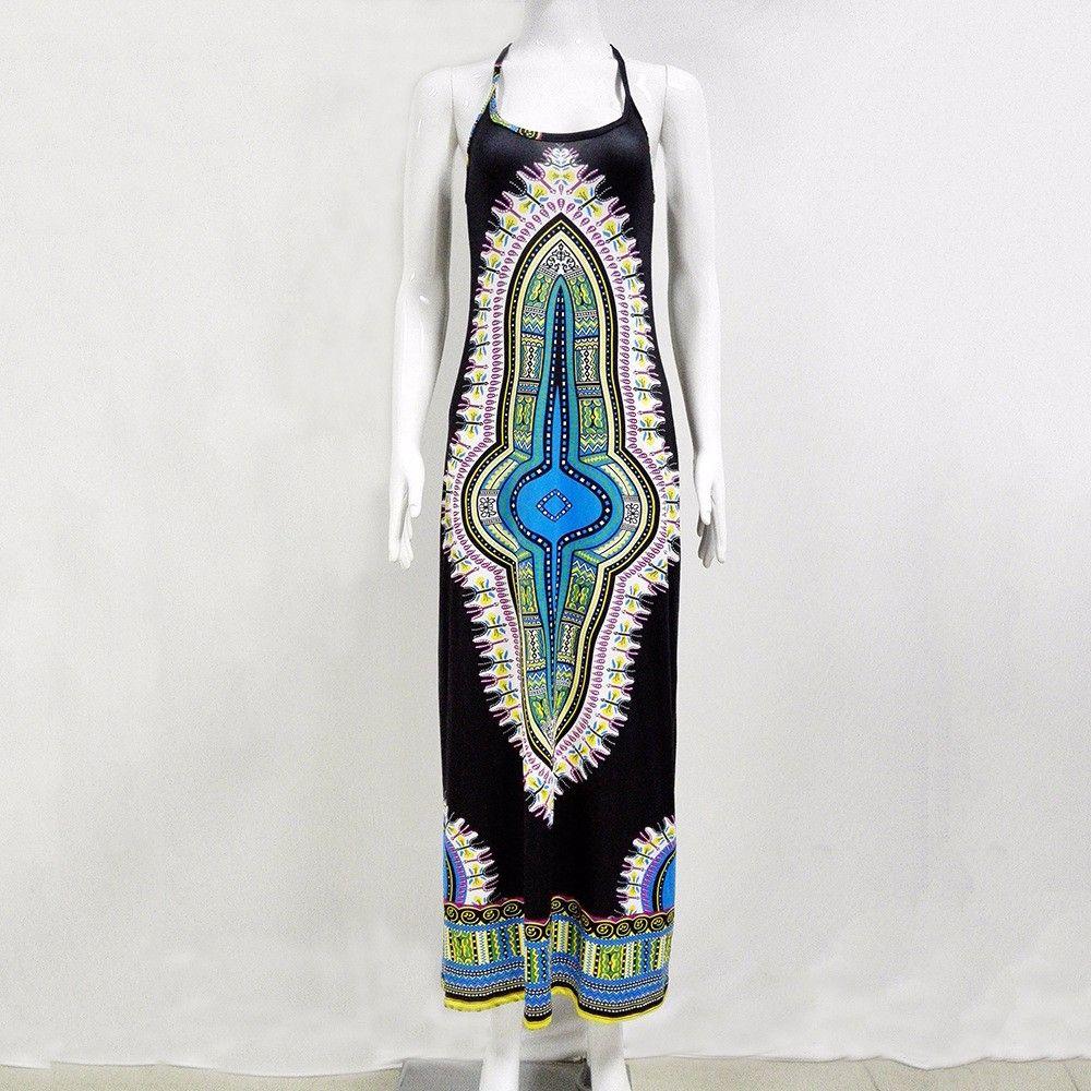 2017 Nuovo vestito africano stampa Dashiki le donne Abiti tradizionali signore senza maniche Slim elegante Maxi abito abbigliamento più dimensioni