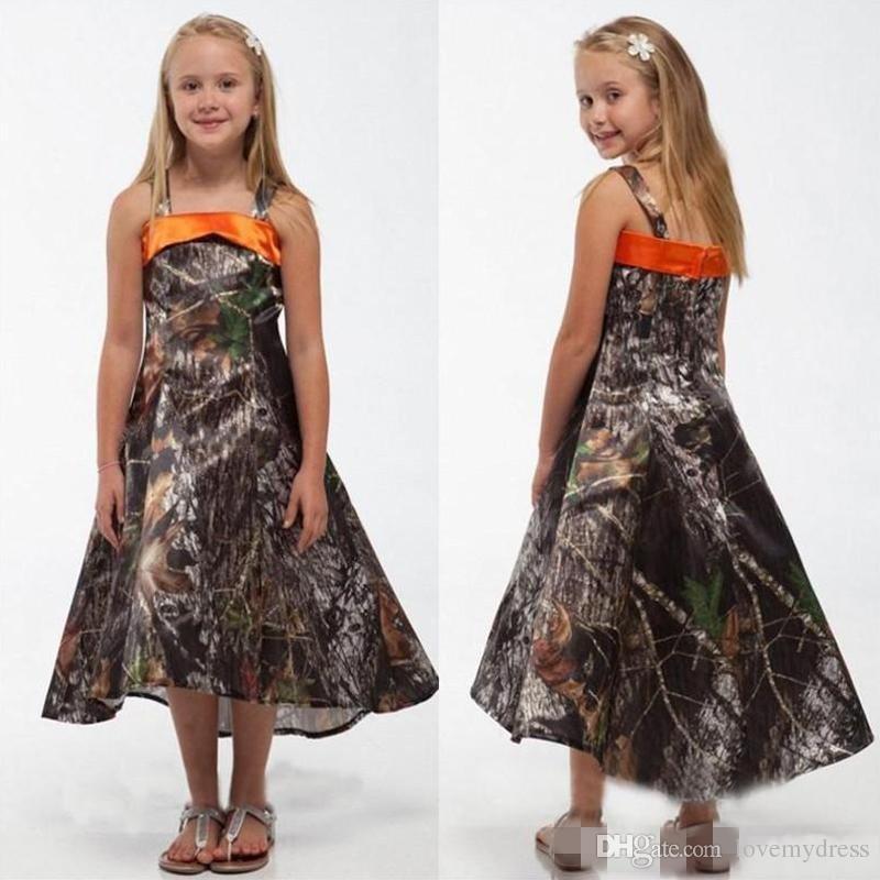 A Line Girls Dresses Formal party Gown Cheap Flowers Girls Dress Camo Tea Length Sleeveless Simple Design Zipper Back Top Sale Fashion