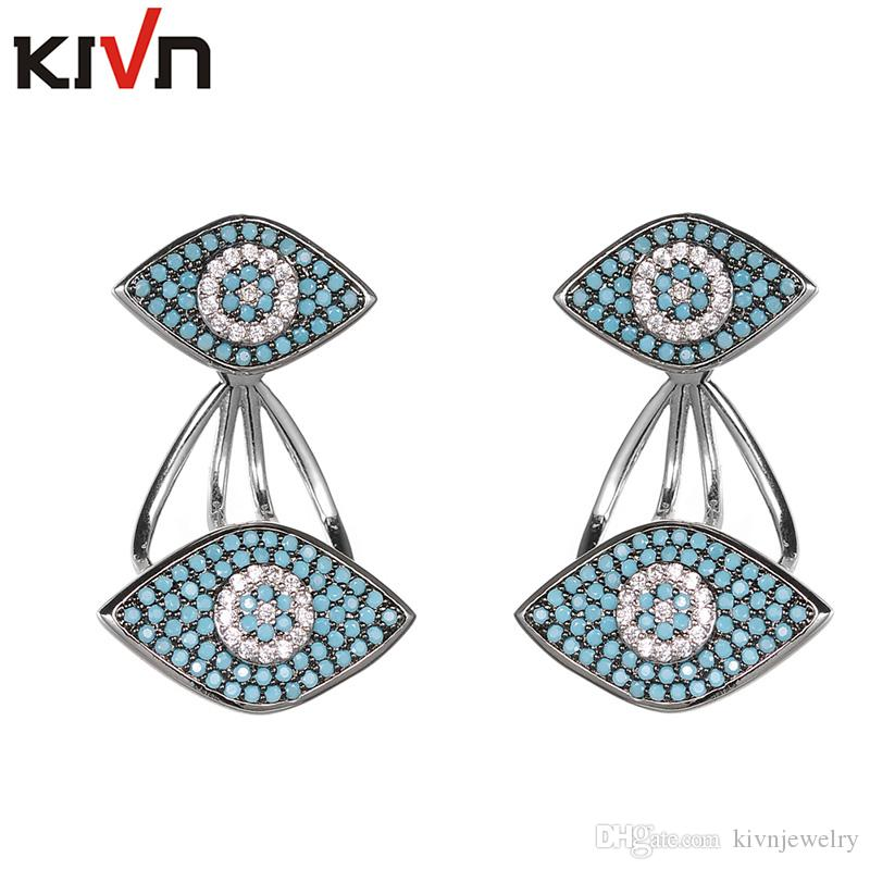 KIVN Fashion Jewelry Turkish Blue Eye Pave CZ Cubic Zirconia Womens Bridal Wedding Earring Ear Jackets Promotion Birthday Gifts