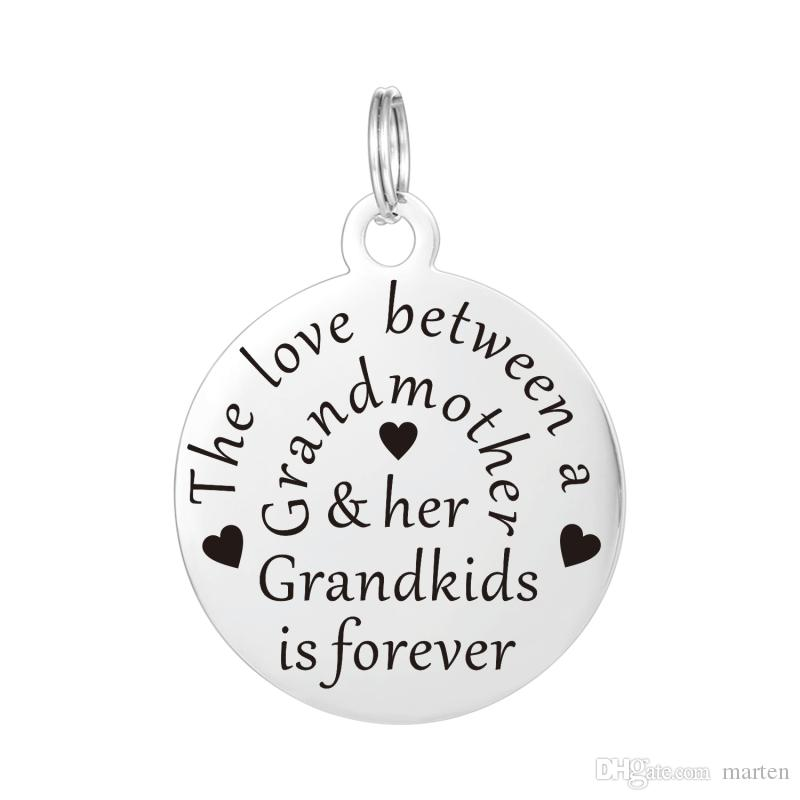 wholesale hand stamped charm grandma necklace personalized pendant