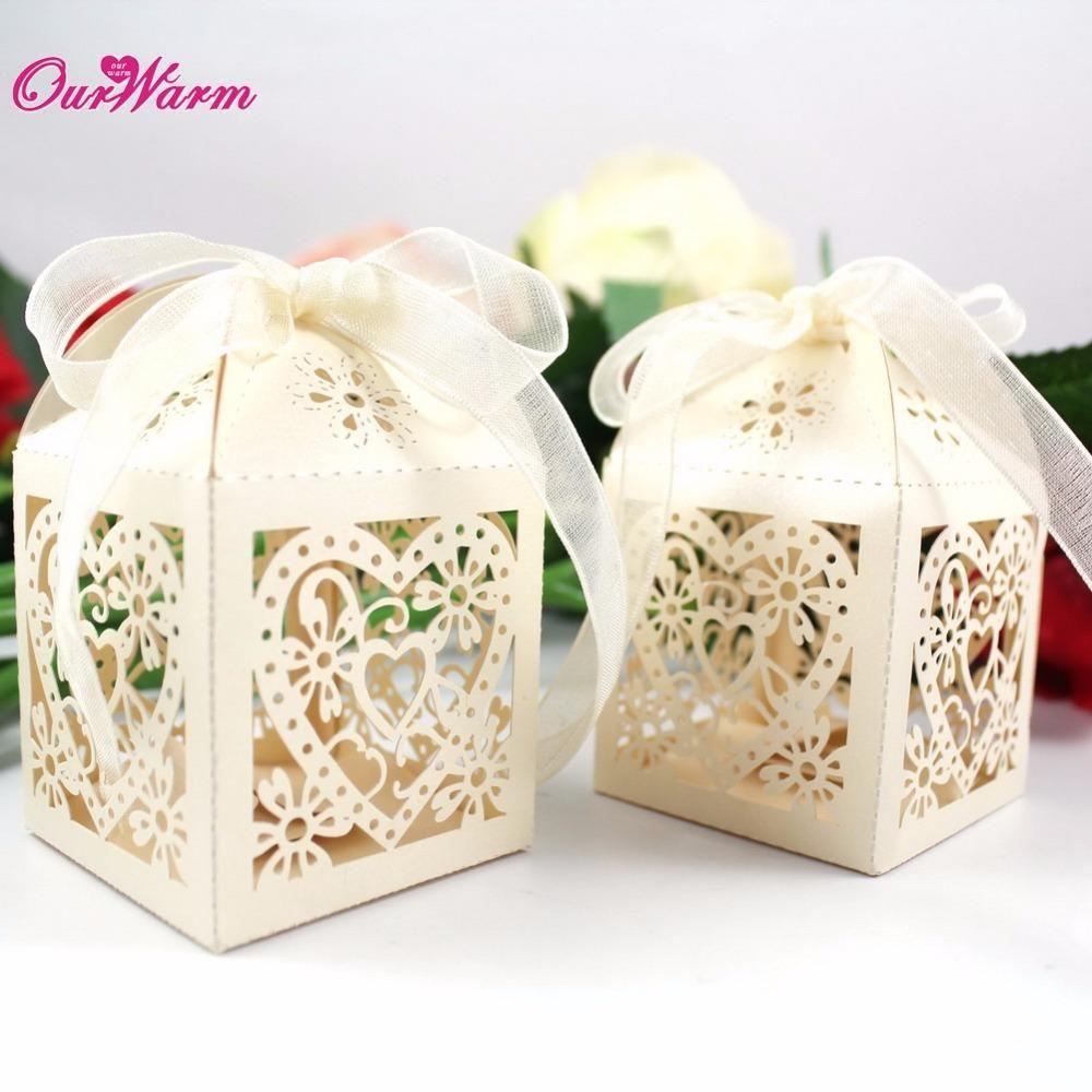 Wedding Candy Box Romantic Heart Laser Cut Gift Bag Wedding Favors ...