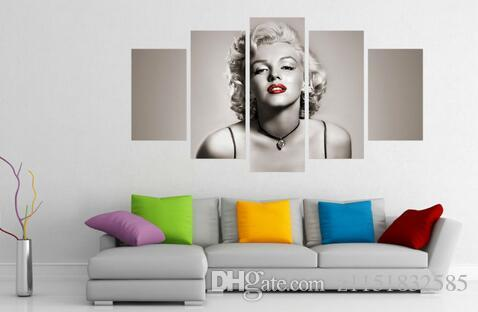 أفضل الحديثة غرفة المعيشة ديكور المنزل فيلم ستار مثير مارلين مونرو جدار الفن صورة طباعة الرسم على قماش الفن