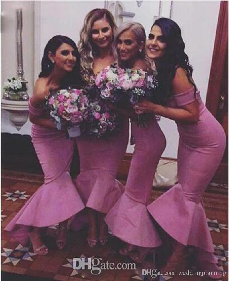 2017 Hot Sexy Off épaule robes de demoiselle d'honneur Cap Sleeve Satin sirène demoiselle d'honneur robes haute basse pas cher mariage invité Prom robes de soirée